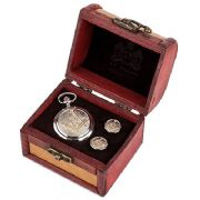 Two Tone Masonic G Cufflinks & Mechanical Watch Set
